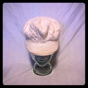 Express wool blend cream billed beanie/hat